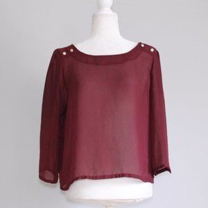 Forever 21 Long Sleeve Button Blouse Maroon Red L